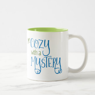 Get Cozy with a Mystery (green and blue) Two-Tone Coffee Mug