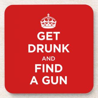 Get Drunk and Find a Gun - Keep Calm Parody Beverage Coasters