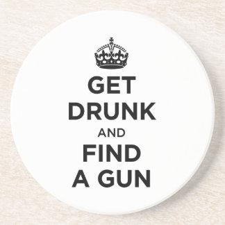 Get Drunk and Find a Gun - Keep Calm Parody Coaster