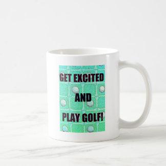 Get Excited and Play Golf Vintage Image Basic White Mug