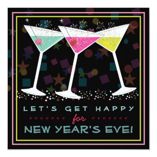 Get Happy on New Years Eve Bright Cocktail Party 13 Cm X 13 Cm Square Invitation Card