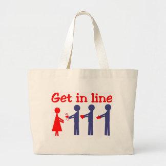 Get in line large tote bag