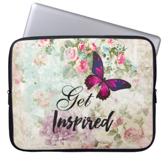 Get Inspired Quote & Pink Butterfly Shabby Collage Laptop Sleeve