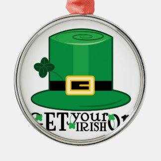Get Irish On Silver-Colored Round Decoration