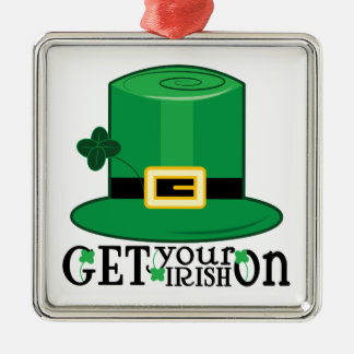 Get Irish On Silver-Colored Square Decoration