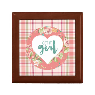 Get It Girl Pink and Teal Hearts Flowers Plaid Gift Box