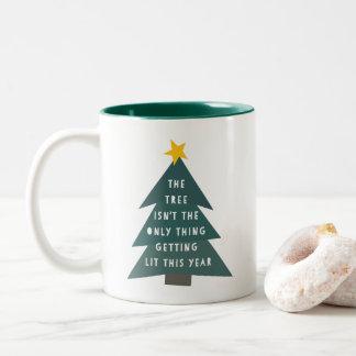Get Lit | Funny Christmas Two-Tone Coffee Mug