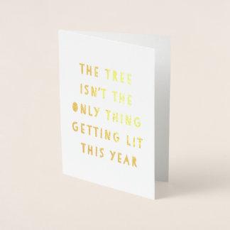 Get Lit | Gold Foil Funny Christmas Card
