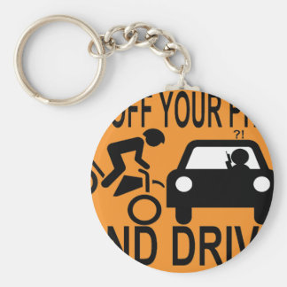 Get Off Your Phone & Drive Basic Round Button Key Ring