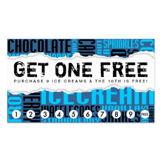 get one free ICE CREAM Pack Of Standard Business Cards