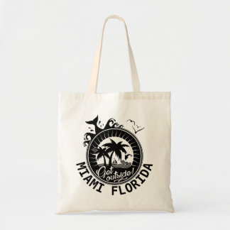 Get Outside Miami Florida Custom Beach Monogram Tote Bag