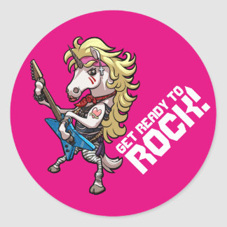 Get Ready To Rock! Hair Metal Glam Unicorn Cartoon Classic Round Sticker