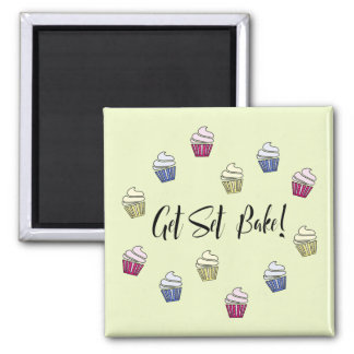 Get Set Bake colourful cupcakes Square Magnet