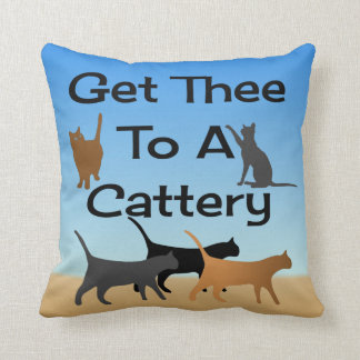 Get Thee To A Cattery Throw Pillow