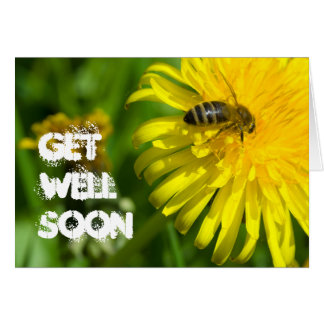 Get Well Bee on Yellow Flower Photo Blank Note Card