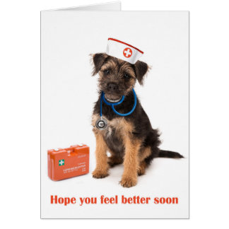 Get well card or Dog with nurse outfit