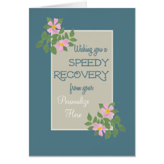 Get Well Card to Personalize, Pink Dogroses, Blue