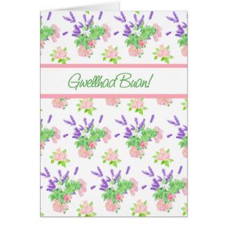 Get Well Card, Welsh Greeting, Scents of Summer Greeting Card