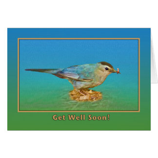 Get Well Card with Catbird and Worm