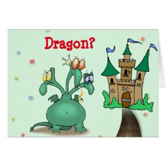 """Get Well"" Dragon and Castle Card"