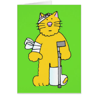 Get well ginger cat with bandages . greeting card