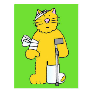 Get well ginger cat with bandages . postcard