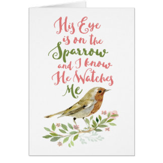 Get Well - His Eye is On the Sparrow Pastel Card