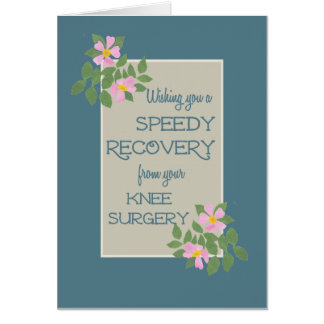 Get Well, Knee Surgery Card, Pink Dogroses, Blue Greeting Card