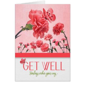 Get Well Salmon Pink Carnation Botanical Garden Card