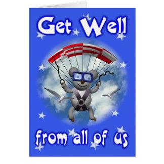 Get Well Sky Diving Koala Card