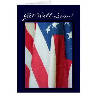 Get Well Soon American flag greeting card