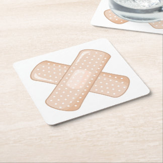 Get Well Soon Bandaid (Nurse Care Crossed Plaster) Square Paper Coaster