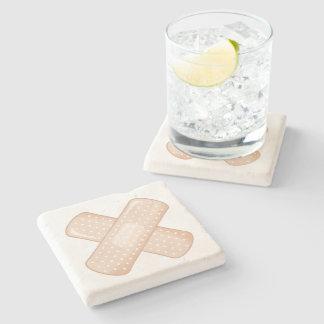 Get Well Soon Bandaid (Nurse Care Crossed Plaster) Stone Beverage Coaster