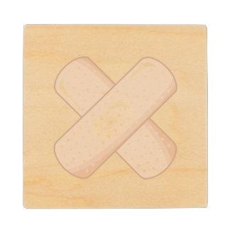 Get Well Soon Bandaid (Nurse Care Crossed Plaster) Wood Coaster
