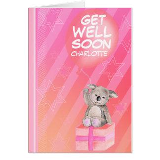 Get well soon boy named Koala Card pink
