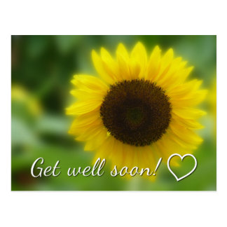 Get well soon: Bright and cheerful sunflower Postcard