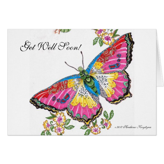 Get Well Soon! Butterfly and Flowers Card