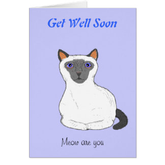Get well soon card, customize. Cat drawing
