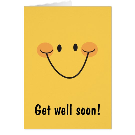 Get well soon card with big happy smiley