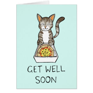Get Well Soon Card with Pizza Cat