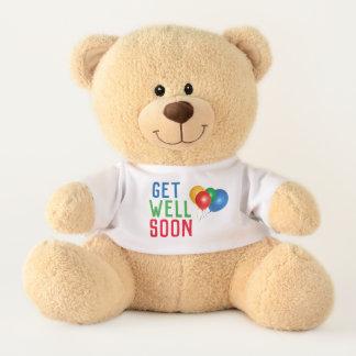 Get Well Soon Cheerful Colorful Balloons Teddy Bear