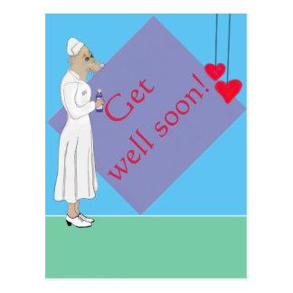 Get well soon - cute Mouse Nurse Postcard