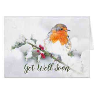 Get Well Soon English Robin Pretty Garden Bird Card