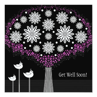 Get Well Soon - Flowers Greeting Card 13 Cm X 13 Cm Square Invitation Card