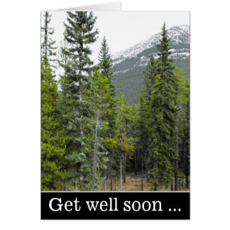 """Get well soon ..."" + Forest and Mountain Scene Card"