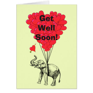 Get well soon fun elephant design card