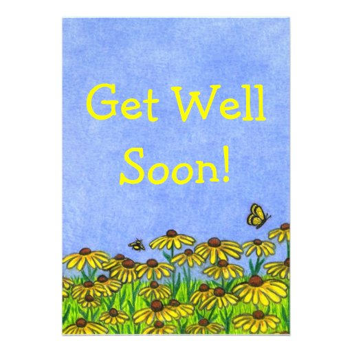 Get Well Soon!~Greeting Card~Personalize! Custom Invitations