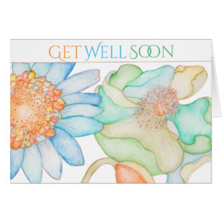 Get Well Soon greeting card with floral design