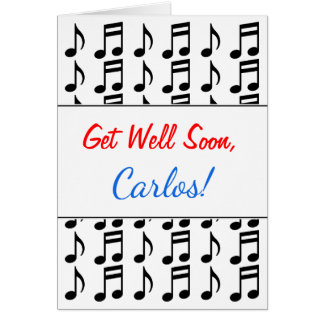 """Get Well Soon"" + Grid of Musical Notes"