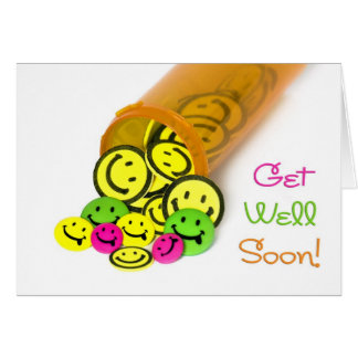 Get Well Soon Happy Face Card